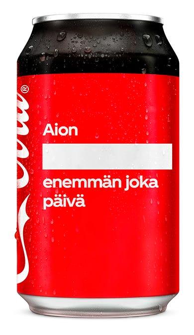 Aion ________________ enemmän joka päivä - Coca-Cola Zero Sugar