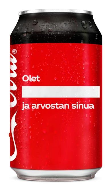 Olet ________________ ja arvostan sinua - Coca-Cola Zero Sugar
