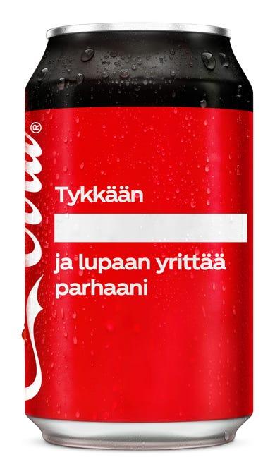Tykkään ___________ ja lupaan yrittää parhaani - Coca-Cola Zero Sugar